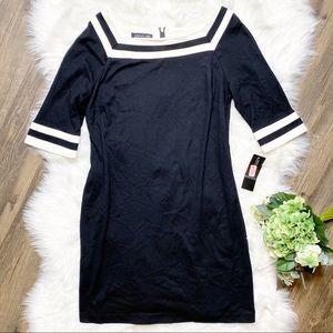 • Jones New York Black & White Sheath Dress •
